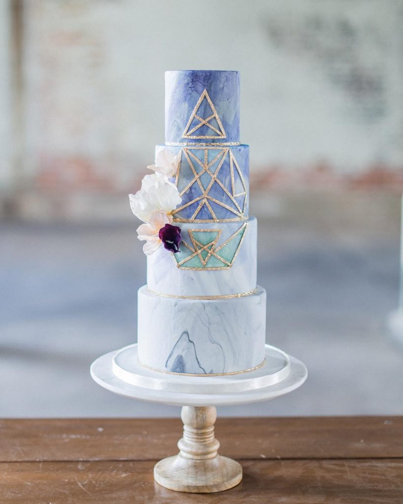 Blue Marbled Wedding Cake With Gold Geometric Lines