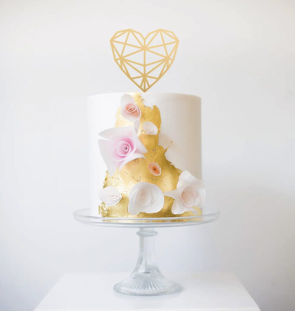 Geometric Heart Cake Topper