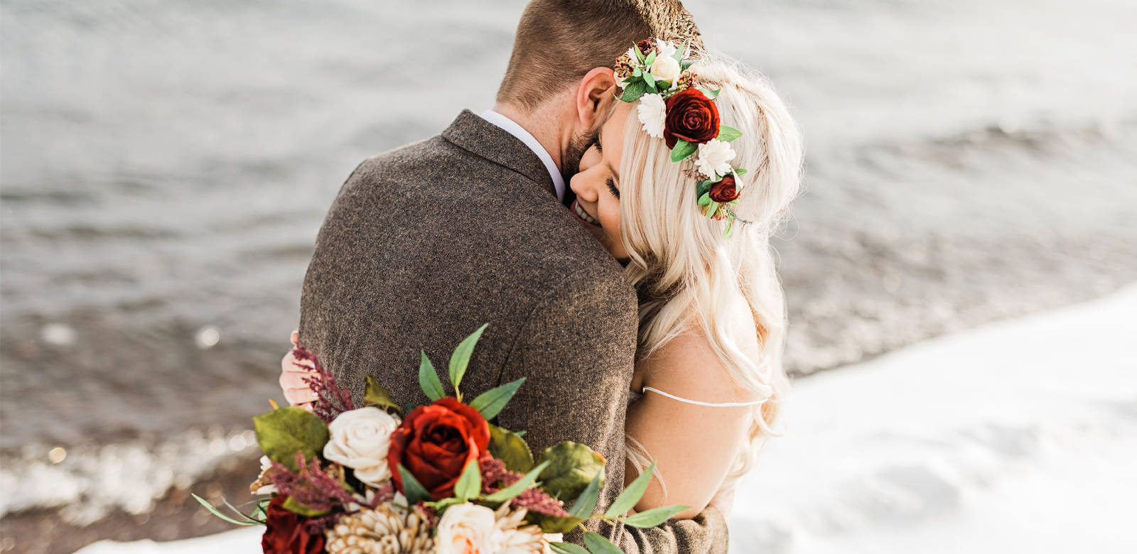 Bride and Groom Embracing On Wedding Day on Shores of Lake Superior