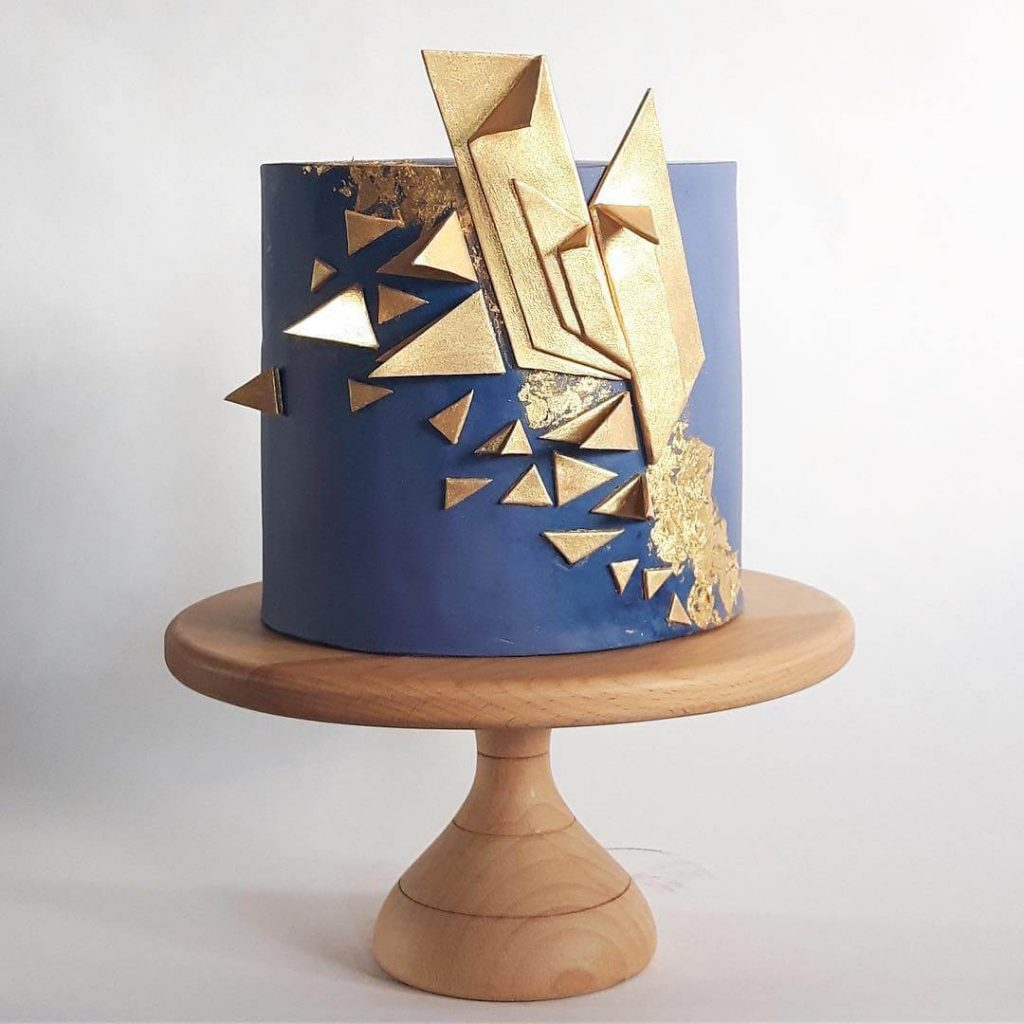 Blue And Gold Art Deco Cake