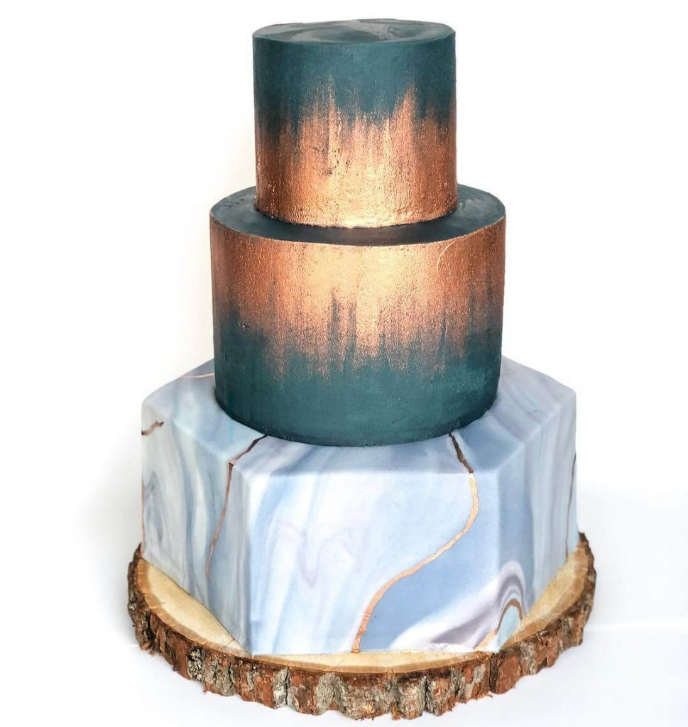 Bronze and Blue Geometric Cake