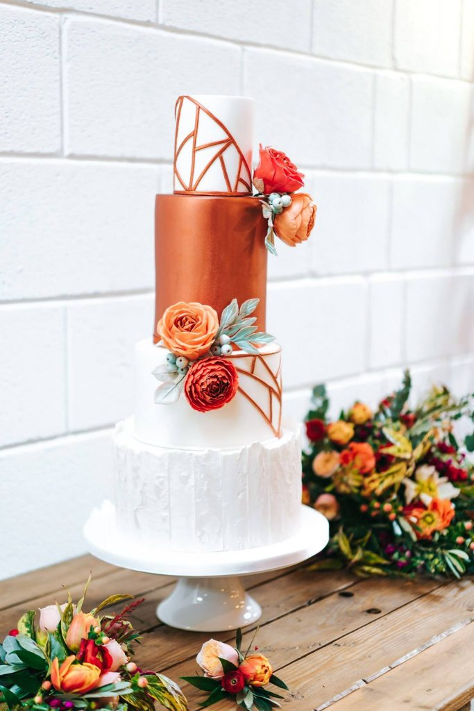 Copper Geometric Wedding Cake