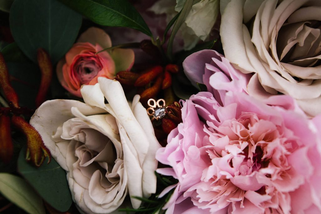 Engagement Ring in Pink Bouquet