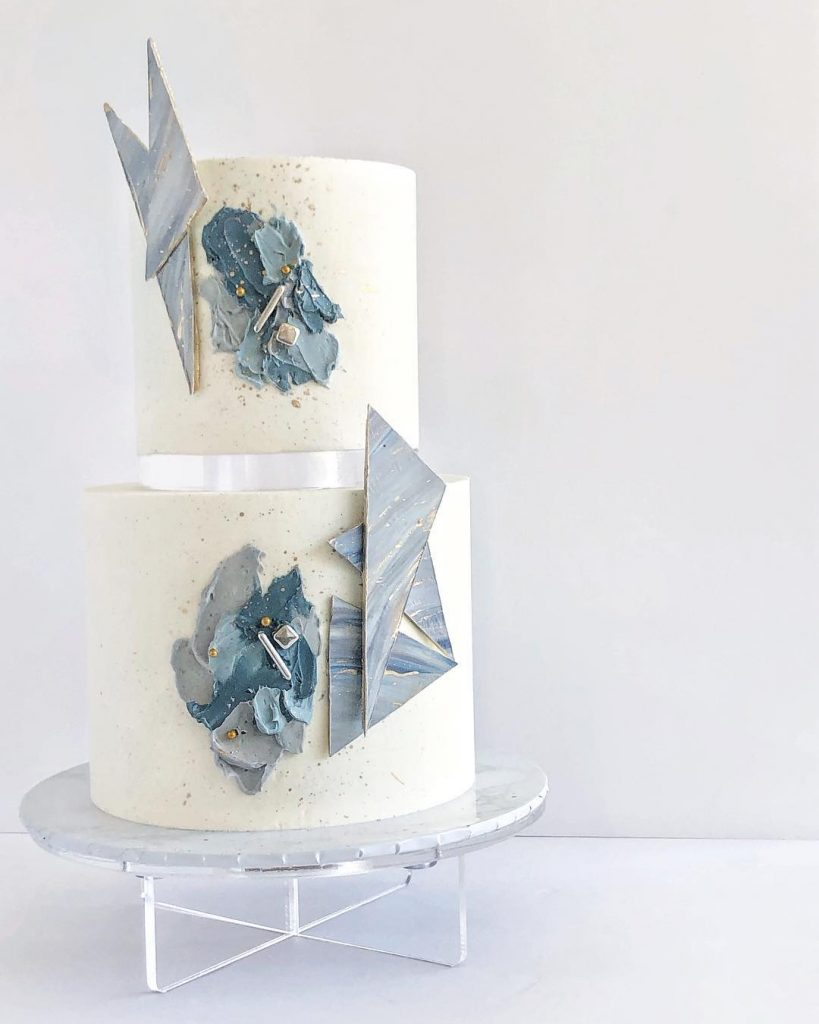 Floating Tier Geometric Wedding Cake