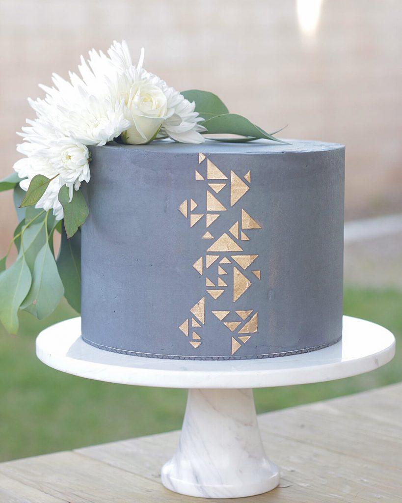 Gold Geometric Stencil Cake
