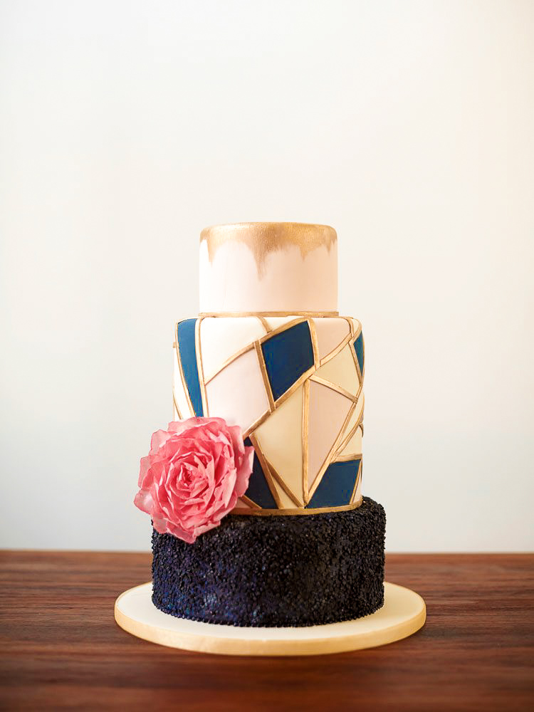Colorful Modern Geometric Wedding Cake