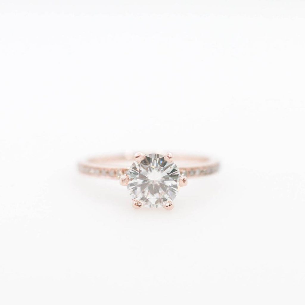 747b0213e Moissanite engagement ring by Lucine Co (top); art deco-inspired moissanite  engagement rings by Olive Avenue Jewelry