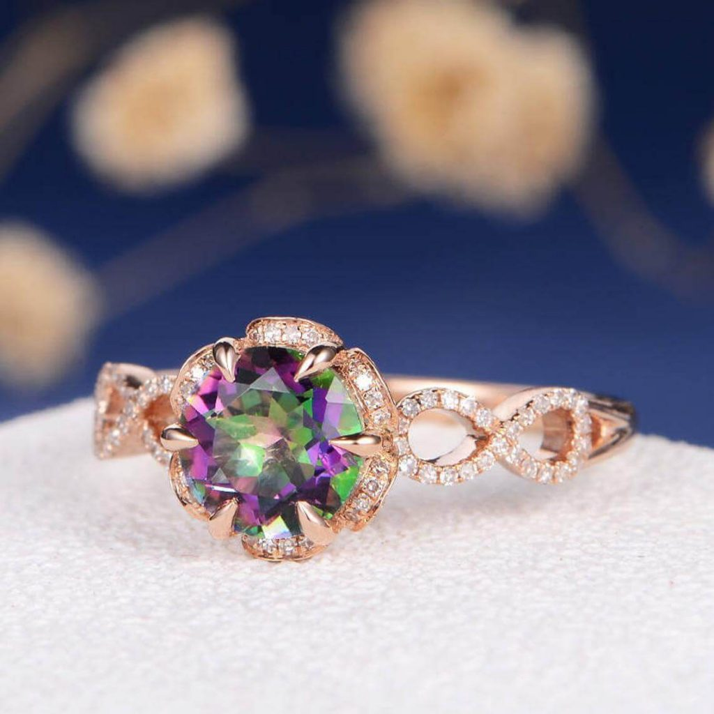 Mystic Topaz Engagement Ring
