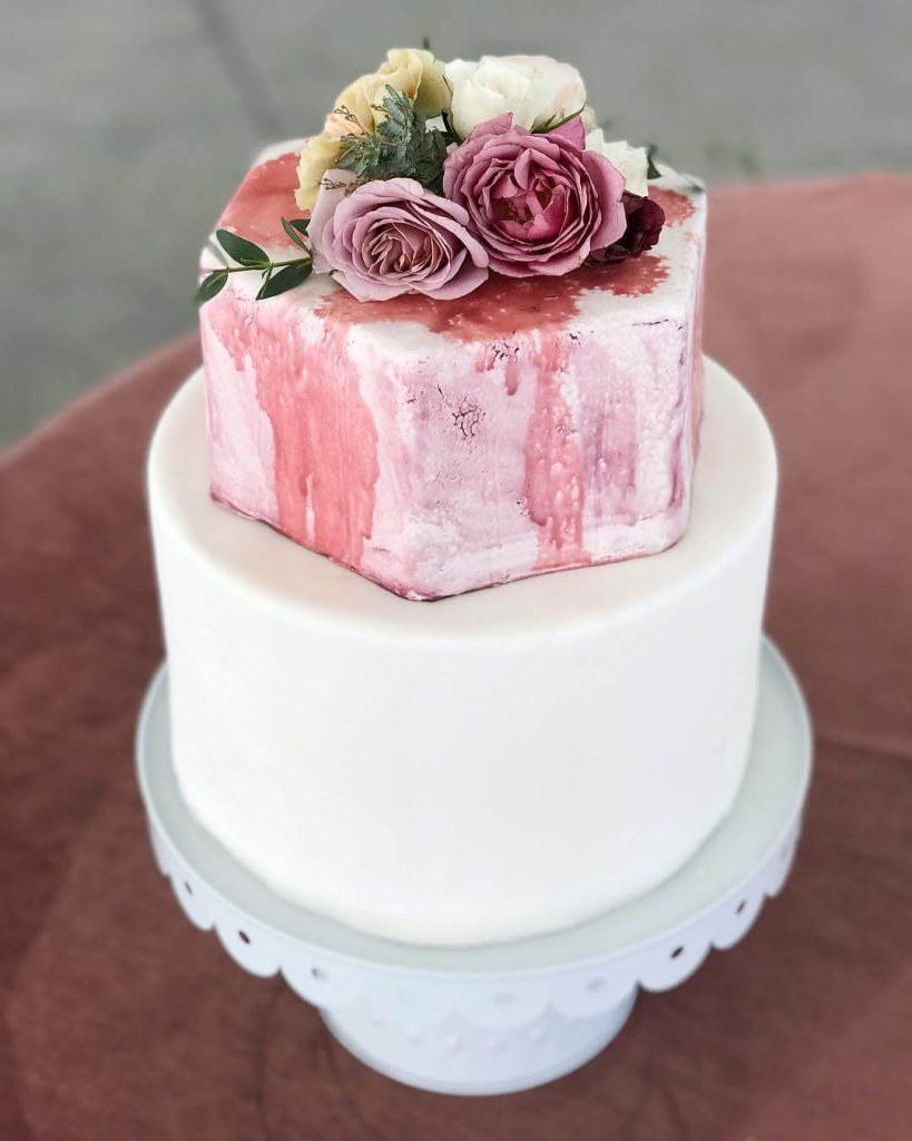 Pink Marble Hexagon Cake