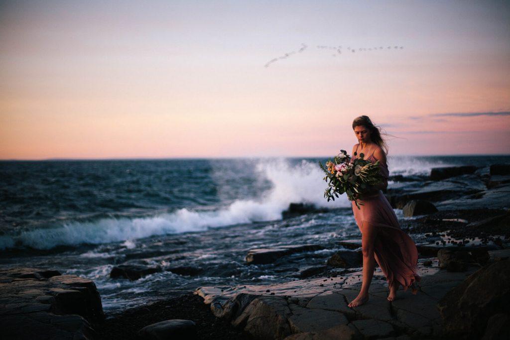 Bride Walking on Shoreline