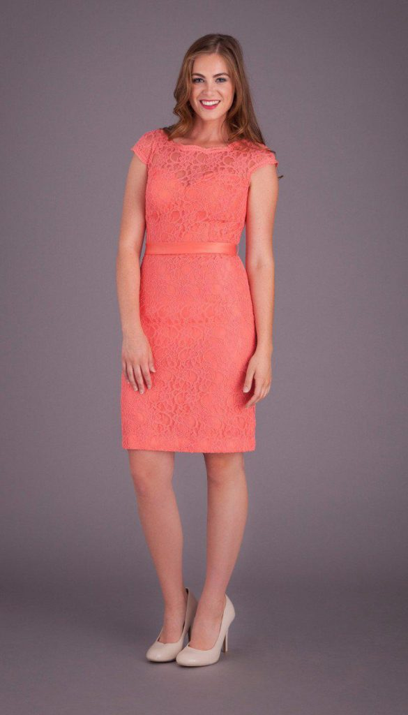 Coral Bridesmaid Dress With Open Back