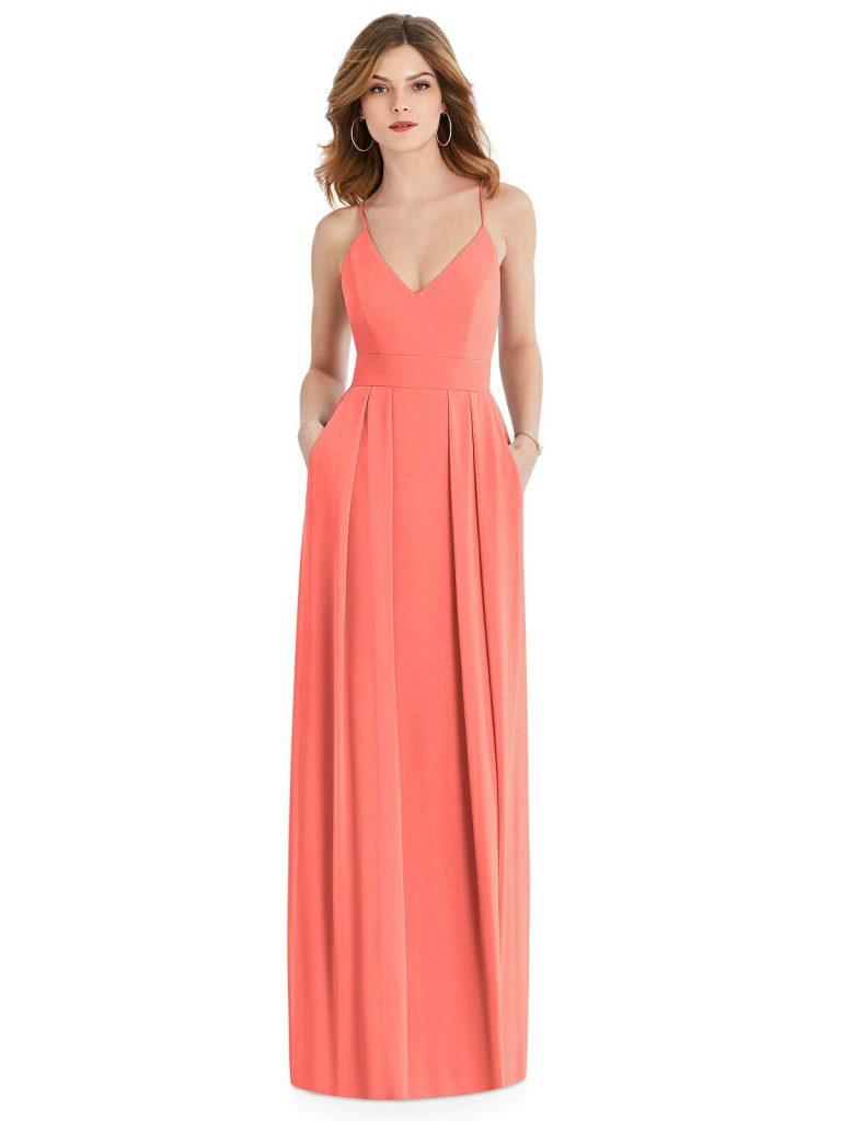 Coral Bridesmaid Dress With Pockets