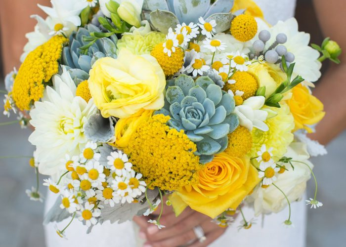 Yellow Wedding Bouquet With Daisies and Succulents