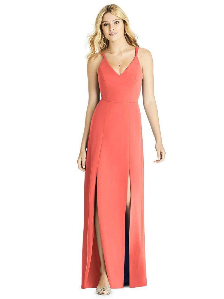 Modern Coral Bridesmaid Dress