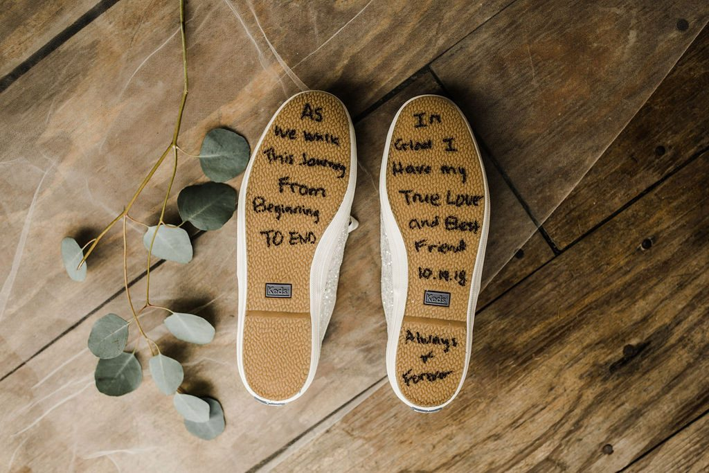 Note Written On Bottom of Wedding Shoes