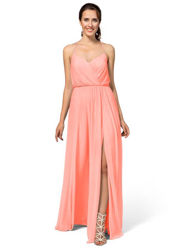 Simple Coral Bridesmaid Dress