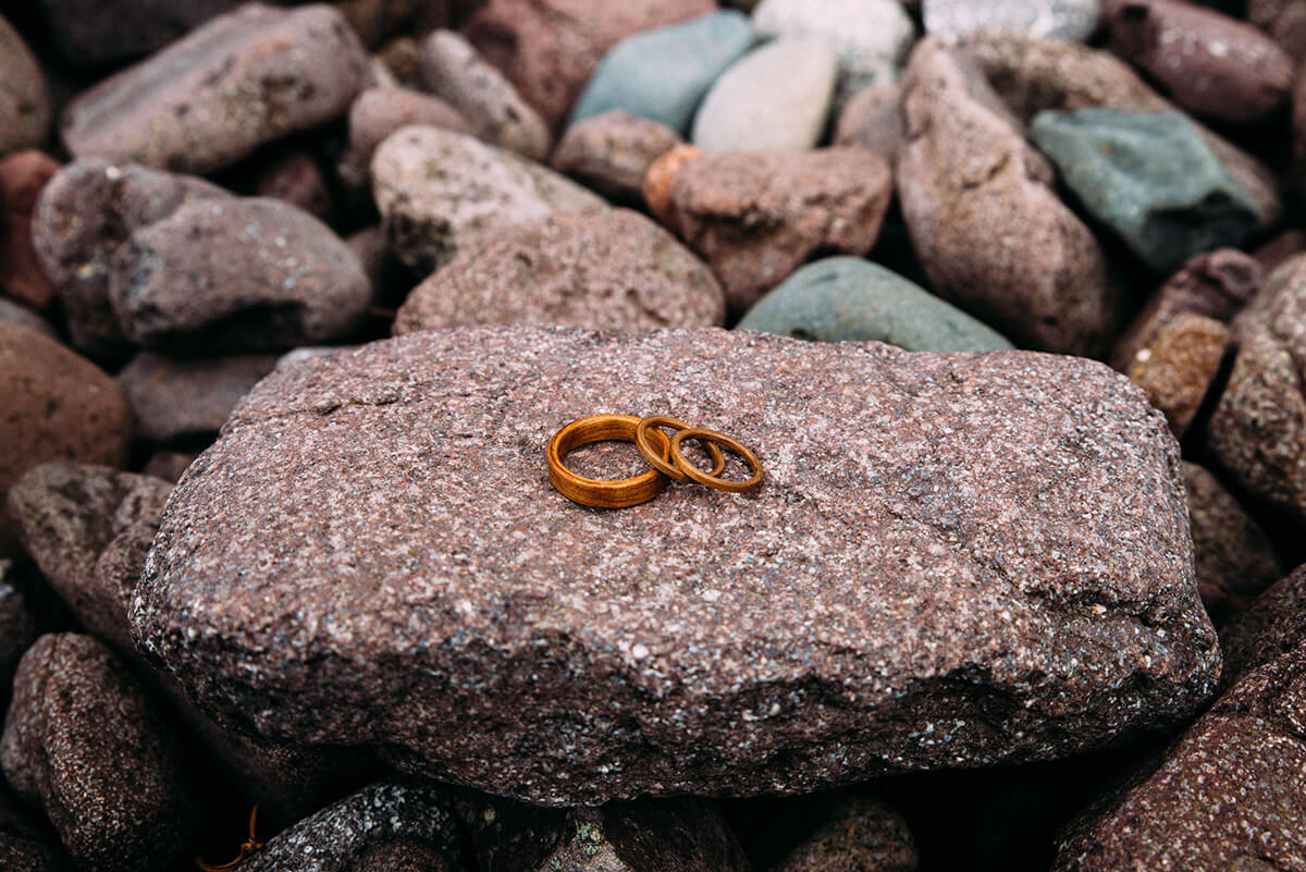 Wedding Bands on Lake Superior Rock