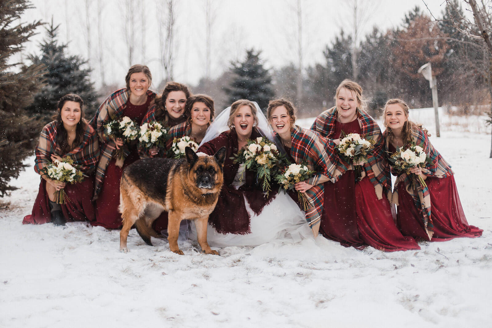 Winter Bridesmaids in Deep Red and Plaid