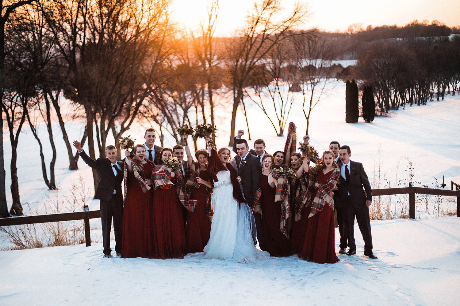 Wisconsin Wedding Party at Sunset