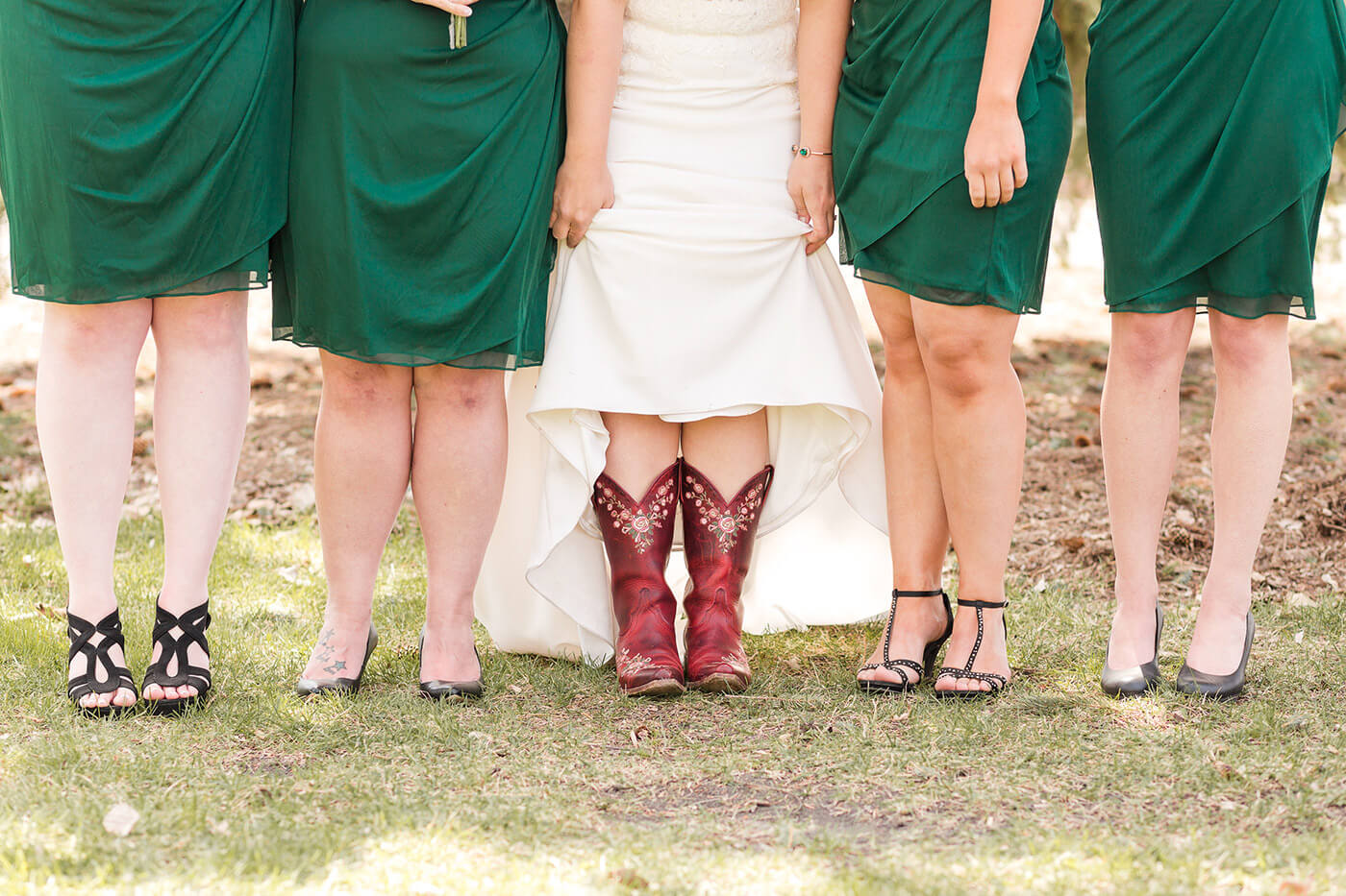 Cowboy Boots Under Wedding Dress