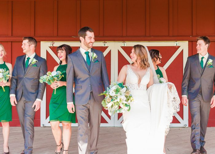 Wedding Party in Front of Red Barn