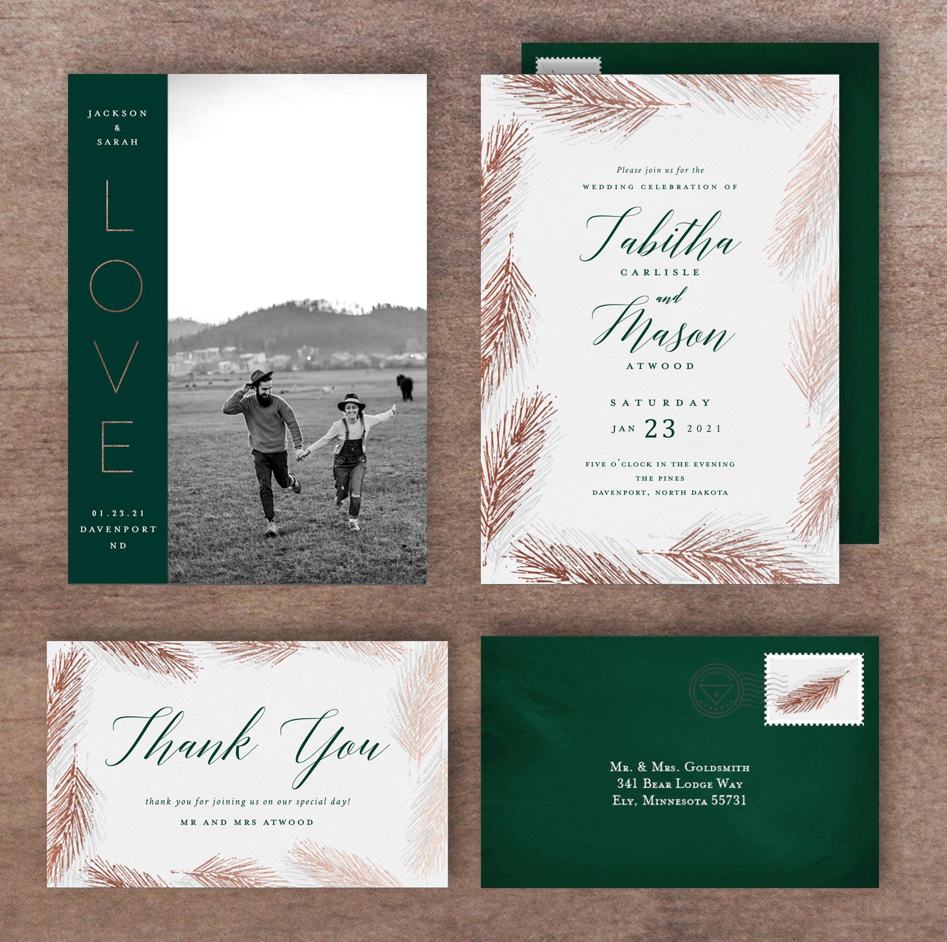 Digital Wedding Invitation Suite With Foil Pine Needles