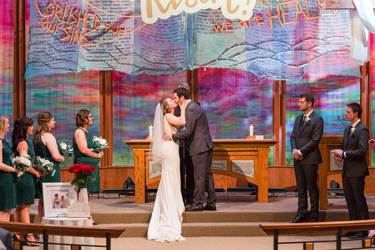 Church Wedding Kiss