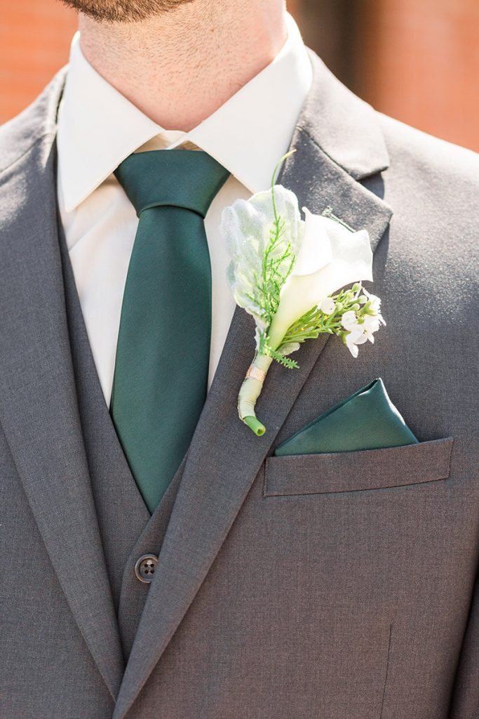 Emerald Green Groomswear and Boutonniere