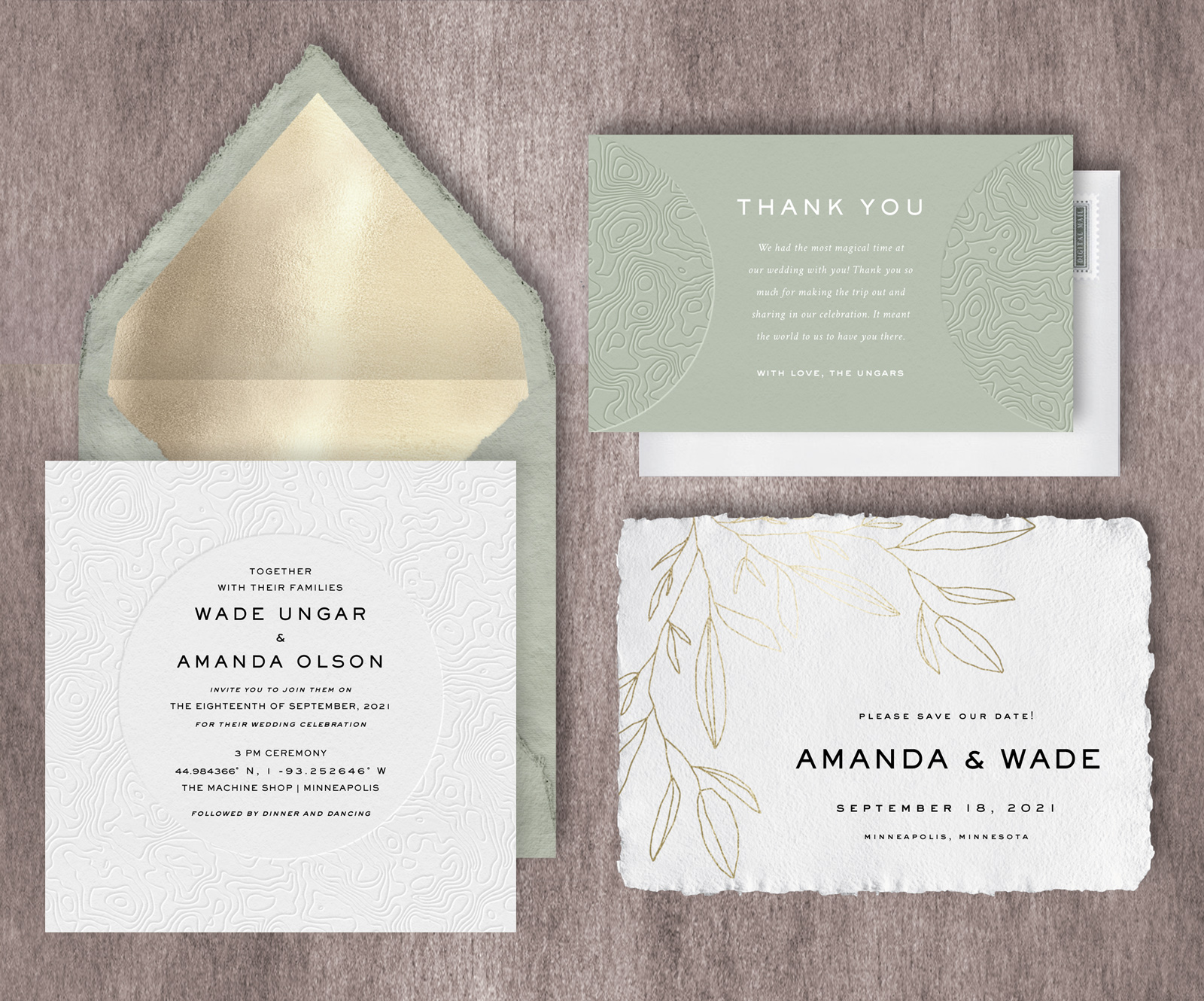 Nature-Inspired Paperless Wedding Invitation Suite