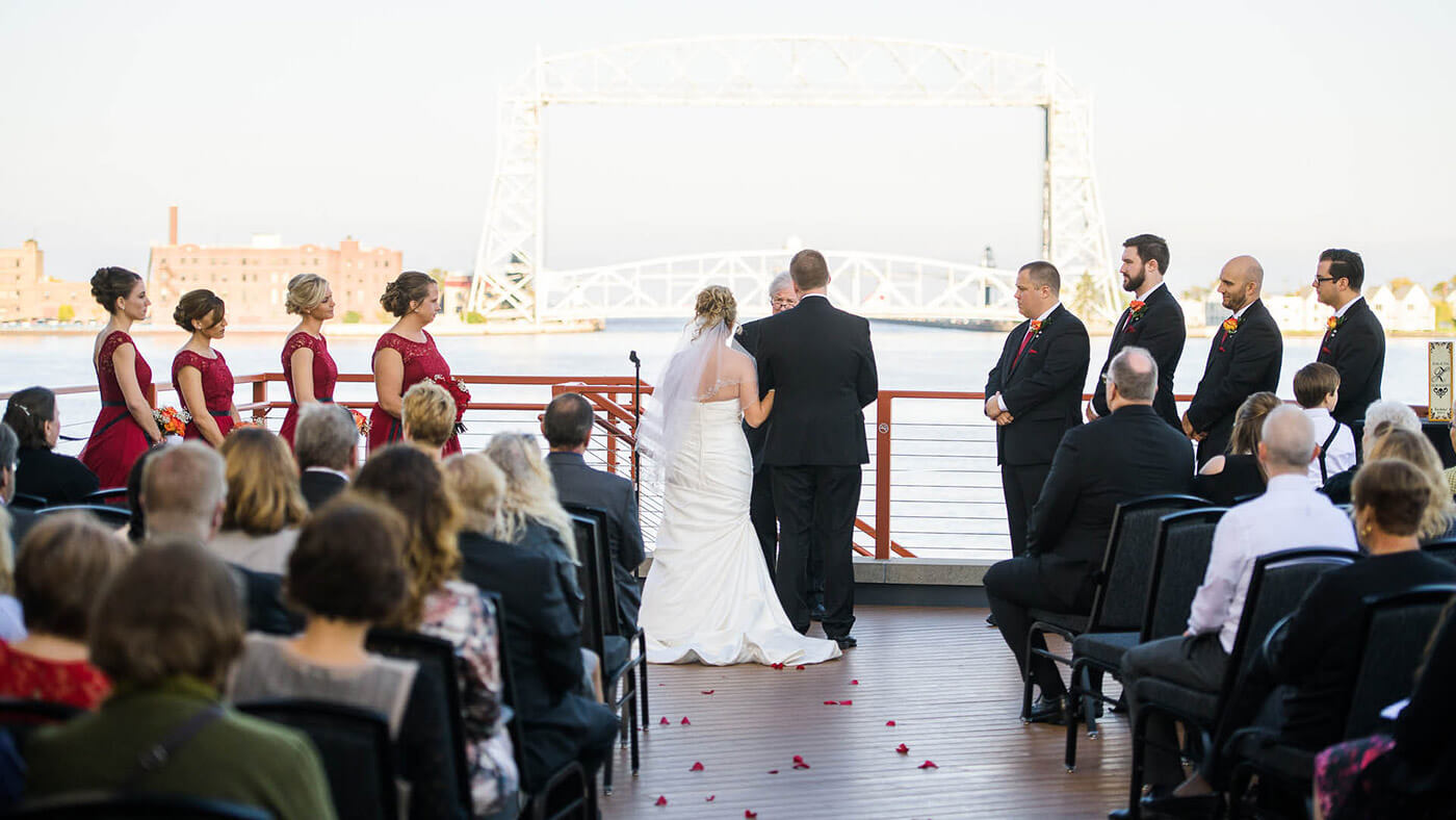 Wedding Venue in Duluth's harbor
