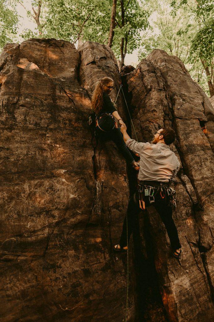 Rock Climbing Engagement Session at Devil's Lake