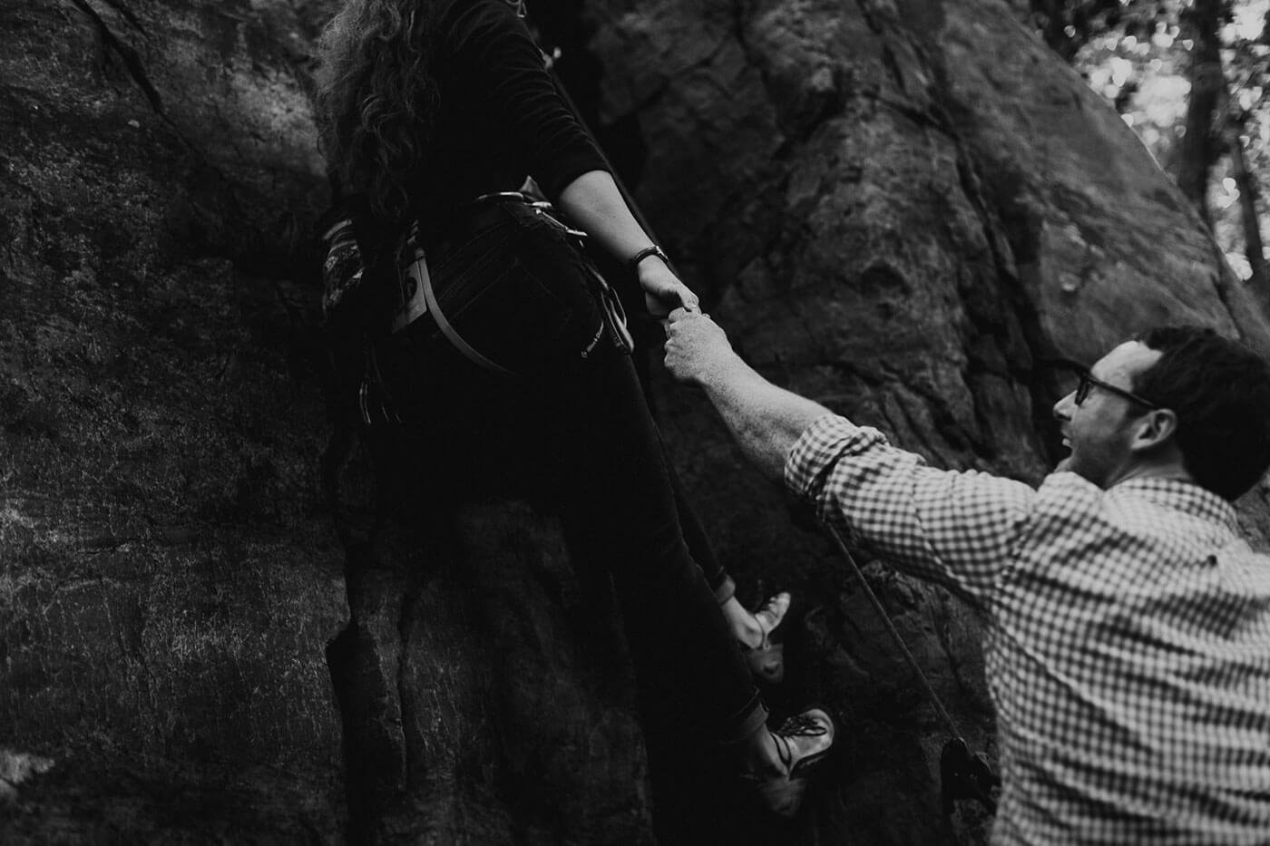 Rock Climbing Engagement Photo