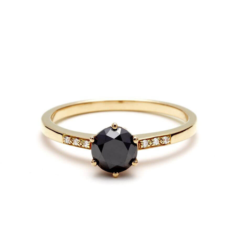 Simple Black Diamond Engagement Ring