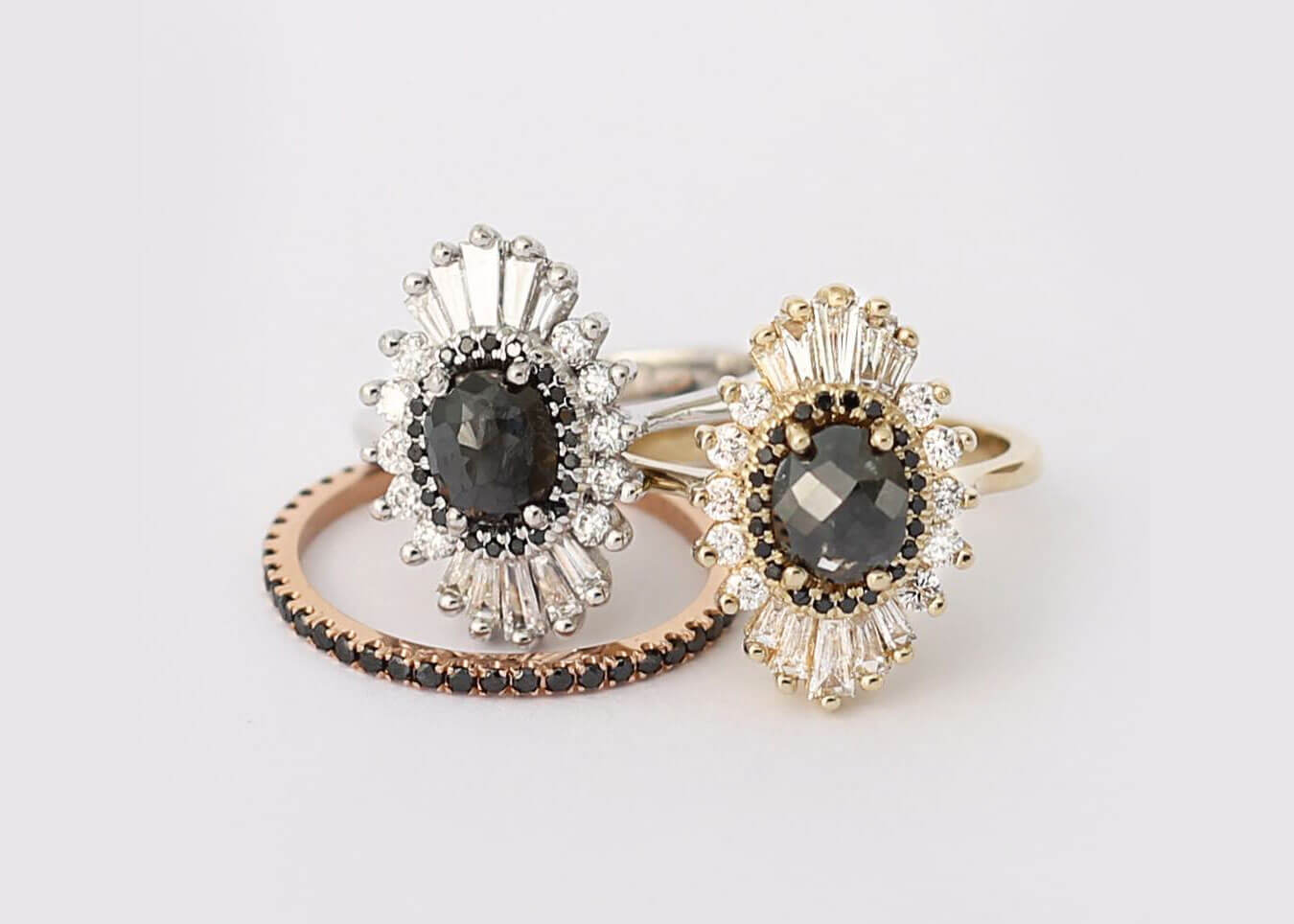 Black Diamond Engagement Rings by Heidi Gibson Design