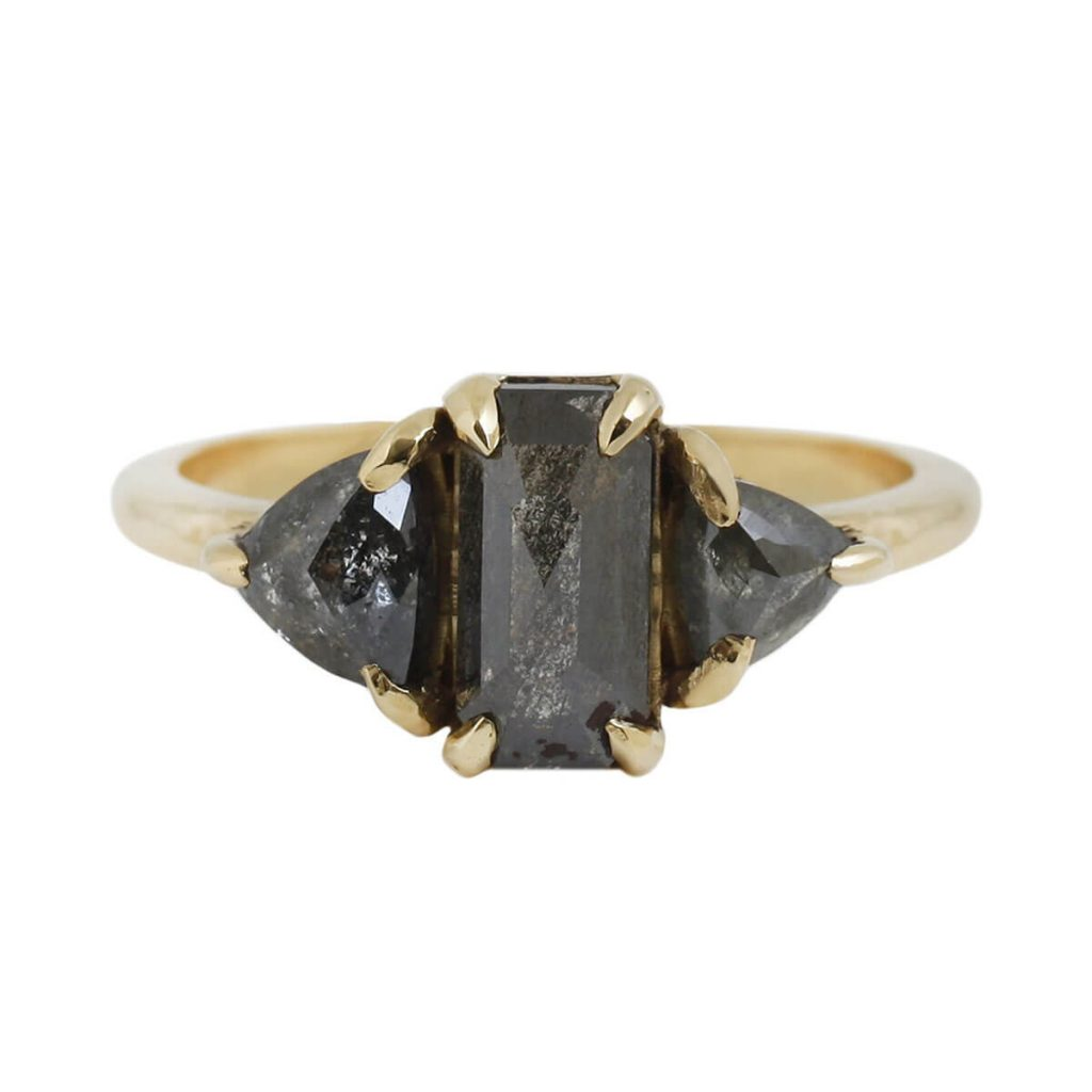 Natural Black Diamond Engagement Ring