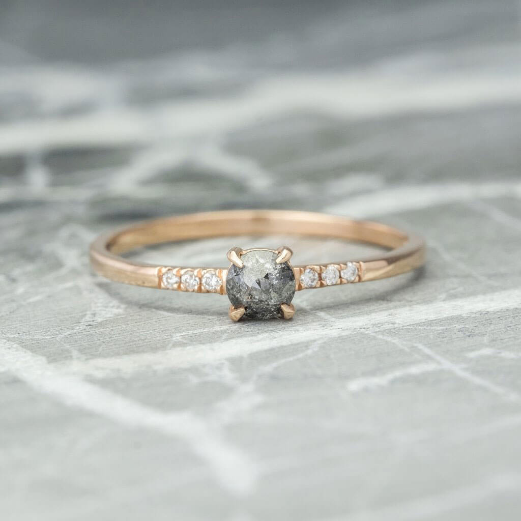 Simple Black Diamond Engagement Ring by Point No Point Studio