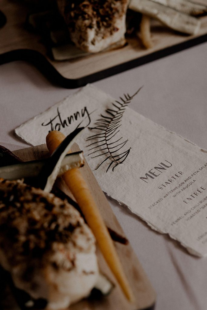 Moody Romantic Wedding Menu