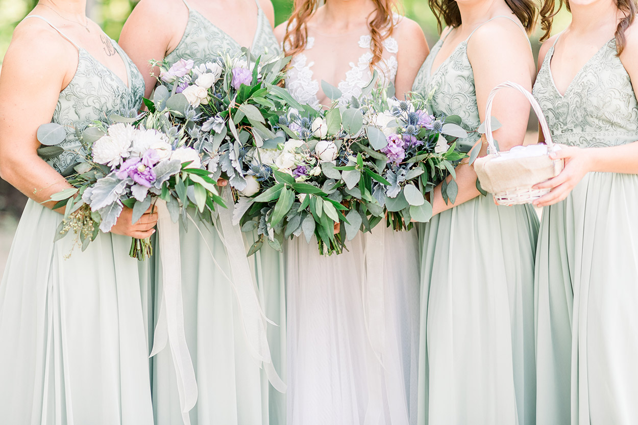 Lavender & Green Bridesmaids Bouquets