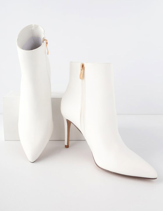 Simple White Heel Boots