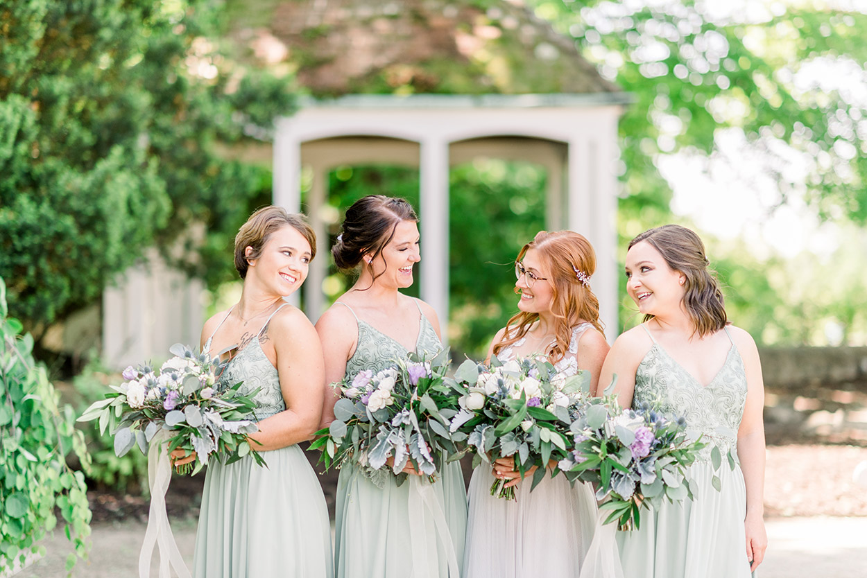 Summer Bridesmaids in Pale Green Dresses