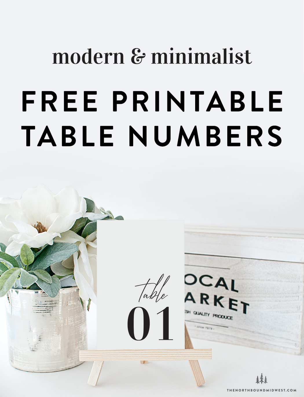 Minimalist Free Printable Table Numbers
