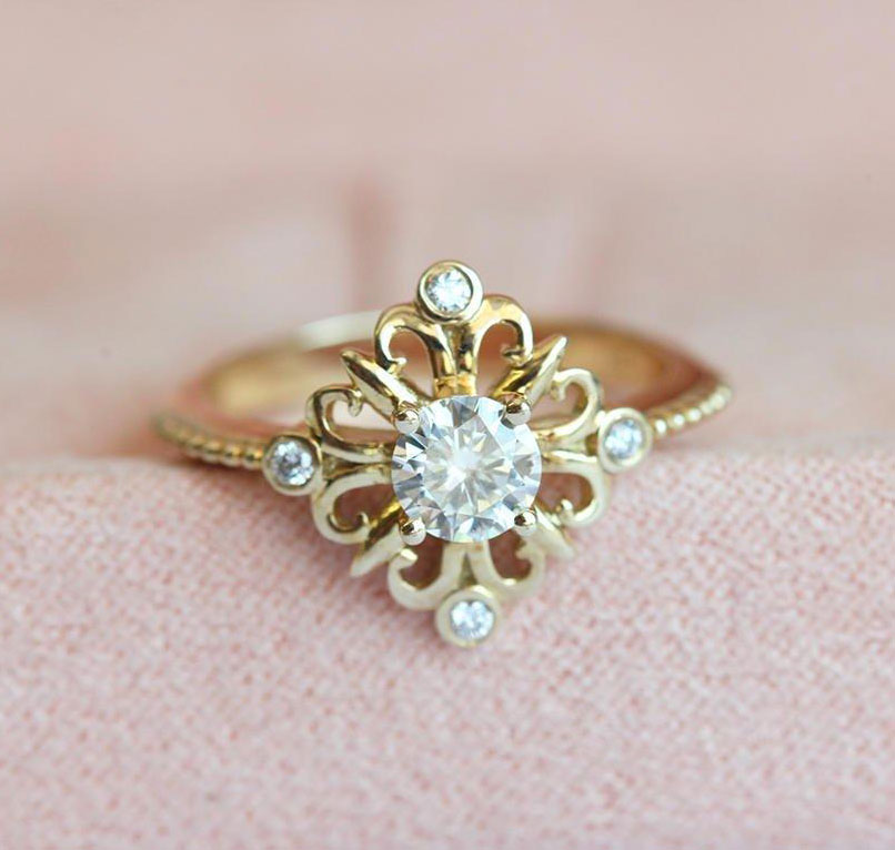 Affordable Gold Moissanite Ring