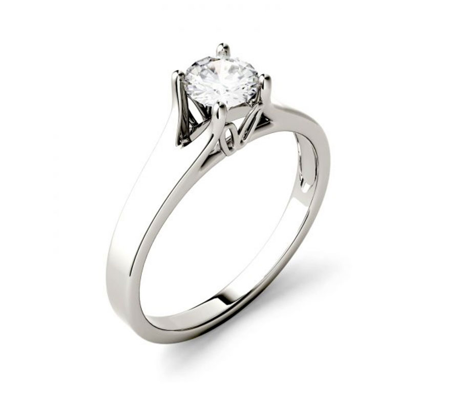 White Gold Moissanite Engagement Ring