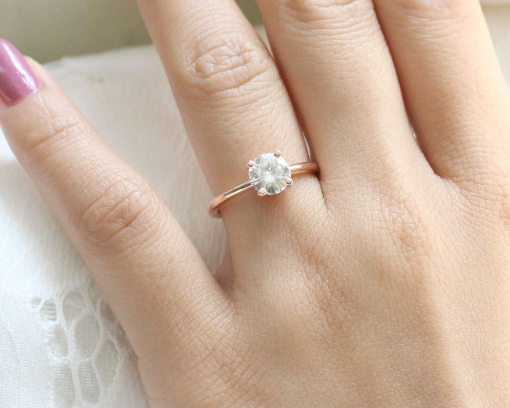 Simple Moissanite Engagement Ring