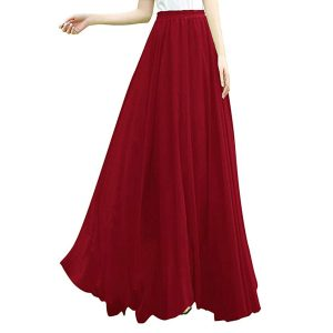red wine maxi skirt