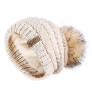 fleece lined knitted pom pom hat