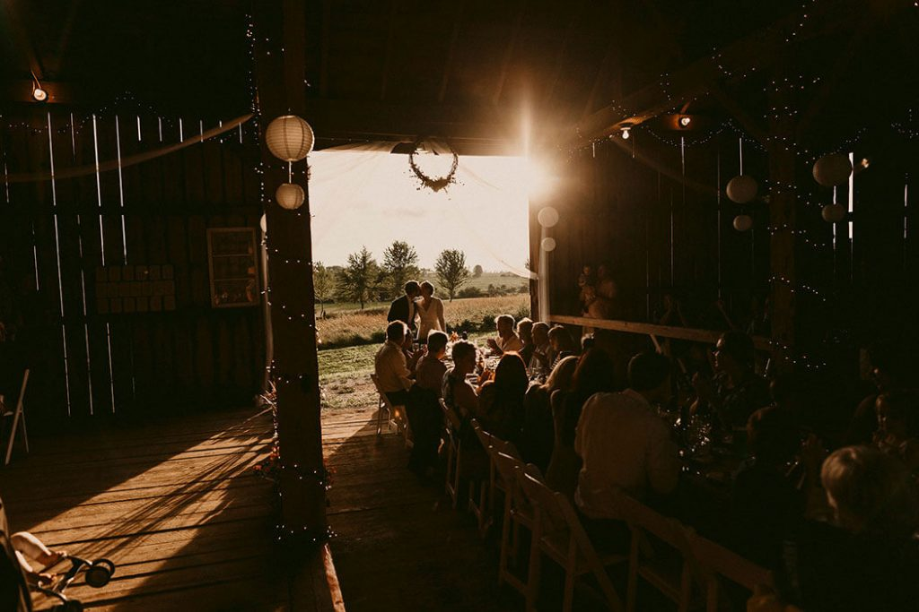 rustic barn wedding ceremony in wisconsin
