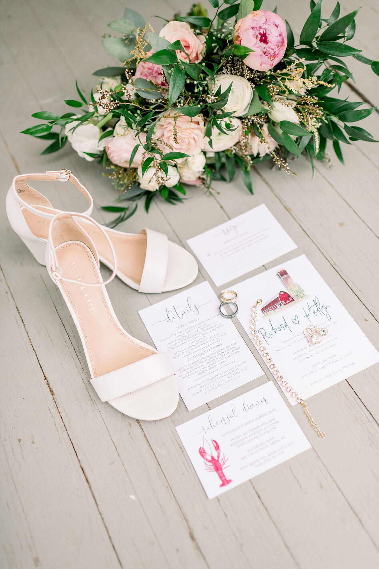 bright wedding details and invitations made by the bride