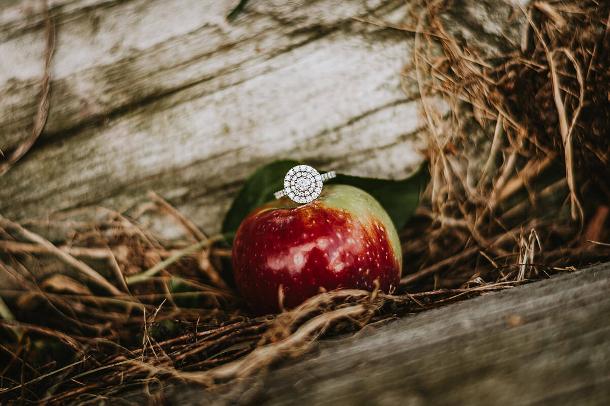 engagement ring in an apple orchard