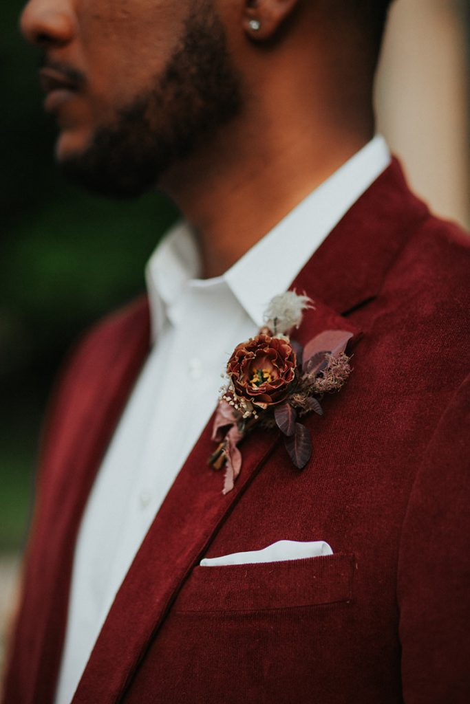 Burgundy Red Velvet Suit and Matching Boutonniere